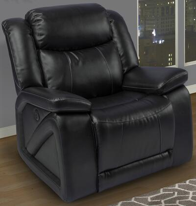 "New Classic Home Furnishings 2-324-13-MBK Soho 42"" Glider Recliner with Bonded Leather Match, Hardwood Frame, Fiber Fill Backs, Sinuous Spring ""No Sag"" Deck and Memory Foam Topper, in Black"