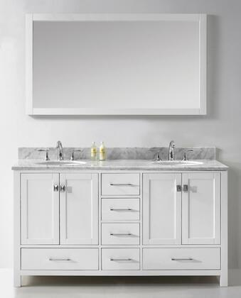 "Virtu USA GD-50060-WM-WH Virtu USA 60"" Caroline Avenue Double Sink Bathroom Vanity in White with Italian Carrara Marble Top"
