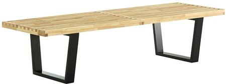 Modway EEI-176 Sauna 5' Solid Ash Wooden Bench with Contemporary Design, Sturdy Construction and Solid Birch Wood Legs