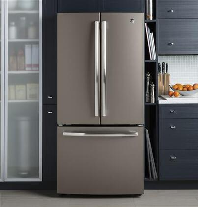 GE GWE19JMLES 33 Inch Slate Series Slate Counter Depth French Door  Refrigerator With 18.6 Cu. Ft. Capacity | Appliances Connection