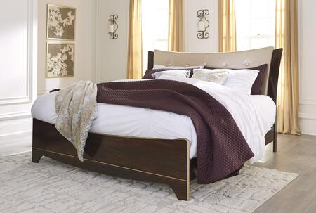 Milo Italia Gentry Collection BR-363PANEL Panel Bed with GoldTone Satiny Fabric, Faux Crystal Button Tufting and Dual Layered Headboard Design in Reddish Brown