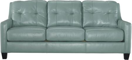 """Signature Design by Ashley O'Kean 5910X38 86"""" Stationary Sofa with Leather Match Upholstery, Tufted Back Cushions and Loose Seat Cushions in"""
