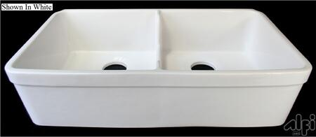 """Alfi AB5123 32"""" Short Wall Double Bowl Lip Apron Farmhouse Kitchen Sink with Fireclay, 3 1/2"""" Rear Center Drain and cUPC Certified in"""