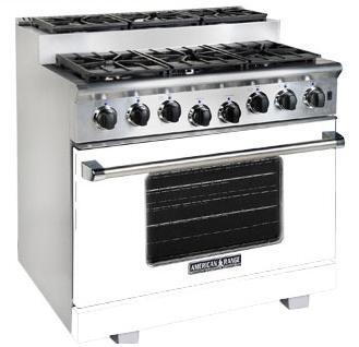American Range ARR366SW Titan Series Gas Freestanding Range with Sealed Burner Cooktop, 5.6 cu. ft. Primary Oven Capacity, in White