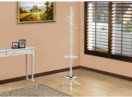 """Monarch I 202X 71"""" Coat Rack with Six Hooks, 3 Umbrella Holders and Solid Wood Construction"""