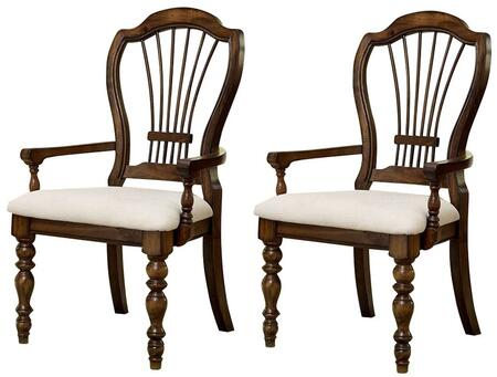 """Hillsdale Furniture 803 Set of 2 Pine Island 42.125"""" Wheat Back Arm Chair with Oversized Harp Back, Ivory Fabric Upholstery, Pine Solids and Lumber Sides Construction in"""