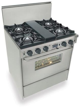 "FiveStar TPN275 30"" Freestanding Dual Fuel-Liquid Propane Range With 4 Open Burners, 3.69 Cu. Ft. Convection Oven, Self Cleaning, Vari Flame Simmer On Front Burners, 240 Volts, 35 Amps, In"
