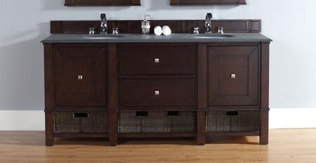 "James Martin Madison 72"" Double Vanity with 2 Doors, 2 Shelves, 2 Drawers, 2 Sinks Included, Marble Top, Satin Nickel Hardware, White Poplar and Plywood Materials in Burnished Mahogany Color"