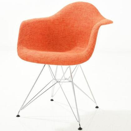 EdgeMod EM223CRMORA Padget Series Modern Fabric Metal Frame Dining Room Chair