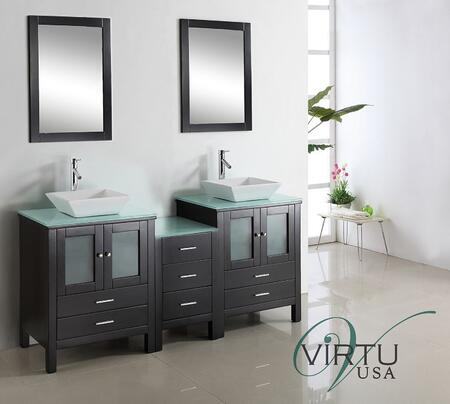 "Virtu USA Brentford 72"" MD-4472-x-ES Double Sink Bathroom Vanity in Espresso Finish with x Countertop, Mirrors, Faucets, 4 Doors, 7 Doweled Drawers and Brushed Nickel Hardware"