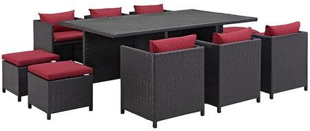 Modway Reversal Collection EEI-644-EXP- 11-Piece Outdoor Patio Dining Set with 4 Stools, 6 Chairs and Rectangular Glass Top Table in