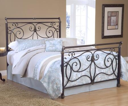 Hillsdale Furniture 1643BR Brady Sleigh Bed Set with Rails Included, Free-Flowing Scrollwork and Tubular Steel Construction in Antique Bronze Finish