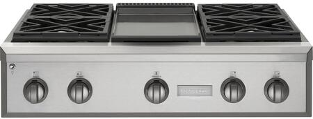 "GE Monogram ZGU364X 36"" Professional Cooktop with 4 Burners, Sealed Duel Framed Stacked Burners, Stainless Steel and Aluminum-Clad Griddle, Bamboo Cutting Board, In Stainless Steel"