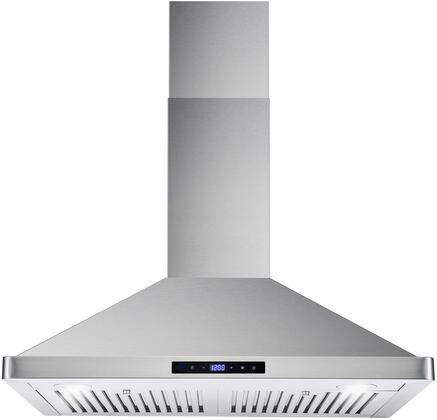 Cosmo COS631xxS Wall Mount Range Hood with 760 CFM, 3 Speed Touch Control with Digital Display, 2 LED Lights and Dishwasher Safe Stainless Steel Baffle Filter, in Stainless Steel