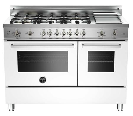 "Bertazzoni PRO486GGASBILP 48"" Professional Series Gas Freestanding Range with Sealed Burner Cooktop, 3.6 cu. ft. Primary Oven Capacity, Storage in Pure White"