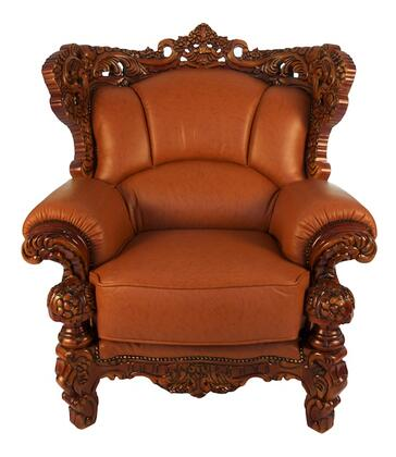 J. Horn 2189BROWNC 2189 Series Leather Armchair with Wood Frame