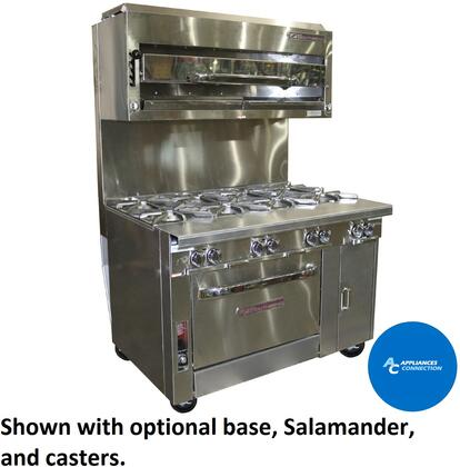 "Southbend P48N Platinum Series 48"" Sectional Open-Top Range  with All Stainless Steel Construction and Eight Standard Non-Clogging Burners, Up to 280000 BTUs (NG/LP)"