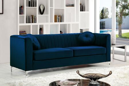 """Meridian Isabelle Collection 612X-S 87"""" Sofa with Velvet Upholstery, Chrome Legs, Piped Stitching and Contemporary Style in"""