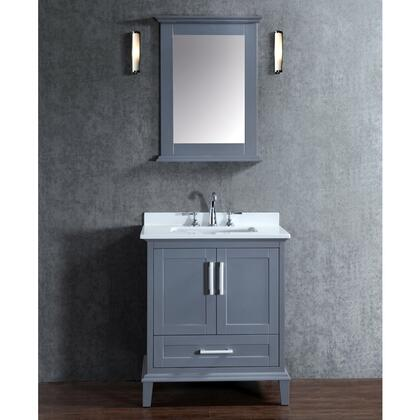 "Ariel SCNAN30S Seacliff by ARIEL Nantucket 30"" Single Sink Vanity Set with Quartz Top, Tapered Legs, and Molding Detail in"