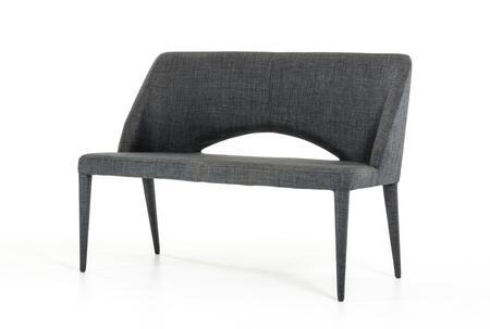 VIG Furniture VGEUMC8081CH Modrest Williamette Series Kitchen Armless Metal Fabric Bench