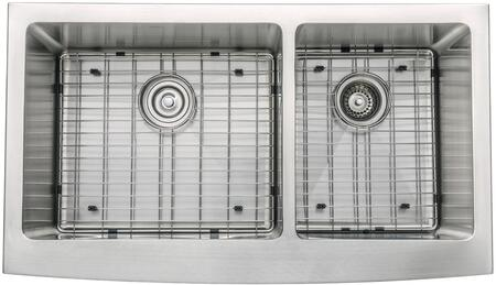 "Kraus KHF20336KPF1602KSD30 Precision Series 36"" Apron Front Double-Bowl Kitchen Sink with Stainless Steel Construction, NoiseDefend, and Included Pull-Down Kitchen Faucet"