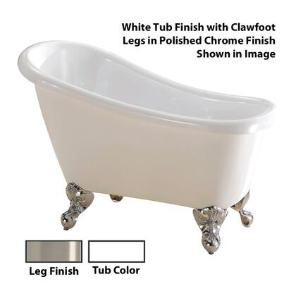 "Barclay ATSN44WH Cyrano 44"" Acrylic Roll Top Slipper Tub, with White Tub Finish, No Overflow, Clawfoot Design, No Faucet Holes, with Clawfoot Finish in"