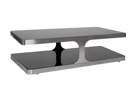 Allan Copley Designs 2110301X Diego Cocktail Table With Black Glass Top & Shelf and Brushed Stainless Steel Frame