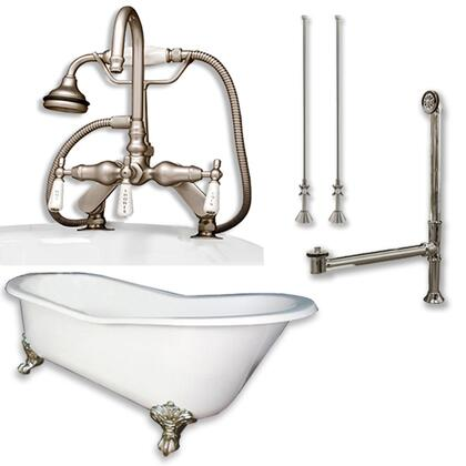 """Cambridge ST67684DPKGXX7DH Cast Iron Slipper Clawfoot Tub 67"""" x 30"""" with 7"""" Deck Mount Faucet Drillings and English Telephone Style Faucet Complete Plumbing Package"""
