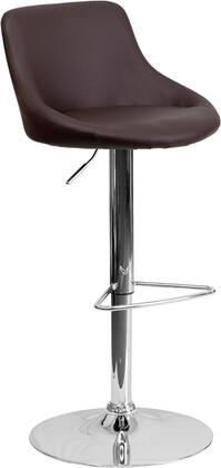 "Flash Furniture 33"" - 41.5"" Bar Stool with Adjustable Height, Swivel Bucket Seat, Chrome Base, Footrest, Low Back Design and Vinyl Upholstery in"