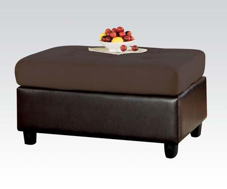 Acme Furniture 112 Lisbon Ottoman with Two-Toned Color Scheme, Bycast PU, Block Legs and Oversized Cozy Seating in