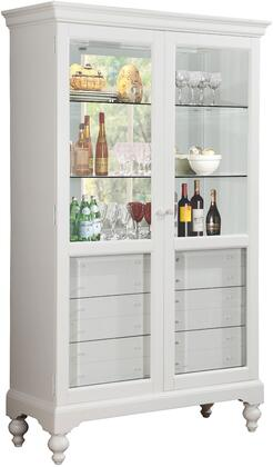 """Acme Furniture Dallin 47"""" Curio Cabinet with 2 Glass Doors, 6mm Tempered Clear Glass Shelves, 6 Felt Lined Drawers and Touch Light Included in"""