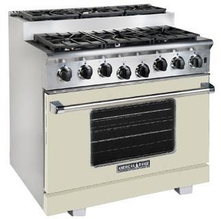 American Range ARR366SBG Titan Series Beige Gas Freestanding Range with Sealed Burner Cooktop, 5.6 cu. ft. Primary Oven Capacity,