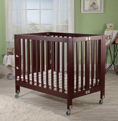 """Orbelle Roxy 1166 40"""" Three Level Portable Crib with New Zealand Pine Construction, Mattress Included, Super Smooth Rubber Wheels and CPSA Approved in"""