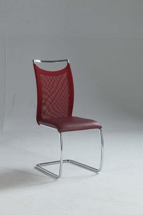 Chintaly Nadine Collection NADINESC NADINE DINING Cantilever Side Chair with Meshed Back, Chrome Frame and PU Leather Upholstery in