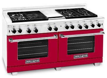 American Range ARR606GDGRBR Heritage Classic Series Natural Gas Freestanding Range with Sealed Burner Cooktop, 4.8 cu. ft. Primary Oven Capacity, in Red