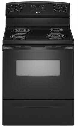 """Amana AER5523XAB 30"""" Electric Freestanding Range with Coil Element Cooktop, 4.8 cu. ft. Primary Oven Capacity, Storage in Black"""