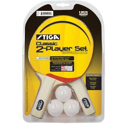 Stiga T133 Player Classic Table Tennis Racket Set with Three Stiga White 40mm One-star Balls
