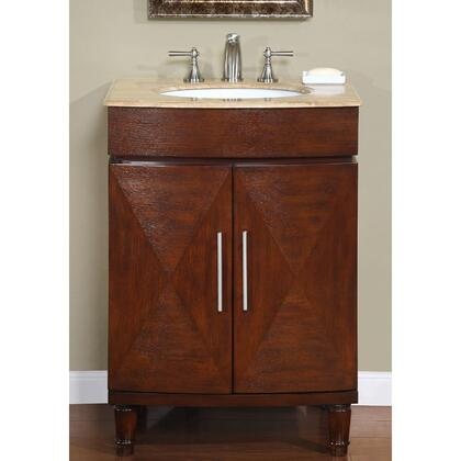 """Silkroad Exclusive HYP-0220-UWC-26 Cambridge 26"""" Single Sink Cabinet with 2 Doors, Turned Legs, Undermount White Ceramic Sink and (3-Hole) in Cherry Finish"""