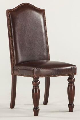 """Home Trends & Design Emilia ZWEI63L 20"""" Dining Chair with Nail Head Trim, Hand-Turned Legs and Leather Upholstery in Distressed Brown Color"""
