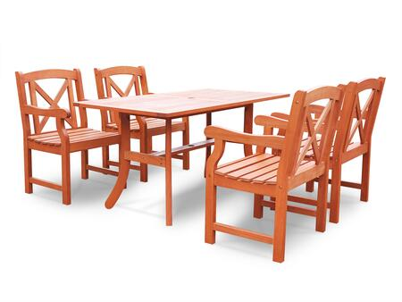 Vifah V189SET2223 Malibu Eco-friendly X-Piece Outdoor Hardwood Dining Set with 1x Rectangle Table (V189) and X Chairs (V1643)