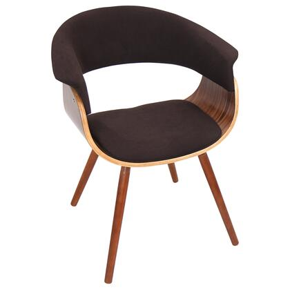 """LumiSource Vintage Mod CHR-JY-VMO WL 20"""" Chair with Fabric Upholstery, Walnut Wood Frame and Open Backrest in"""