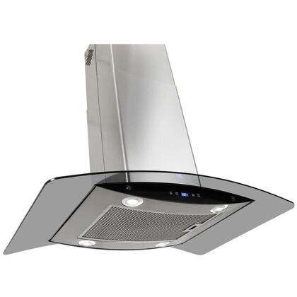 """AKDY AIR63B36 36"""" Island Mount Range Hood with 870 CFM, 55 dB, Innovative Touch, 3 Fan Speed, Delayed Auto Shut Off, Aluminum Grease Filter and X: Stainless Steel"""