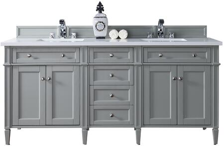 "James Martin Brittany Collection 650-V72-UGR- 72"" Urban Gray Double Vanity with Six Drawers, Four Doors, Tapered Legs, Satin Nickel Hardware and"