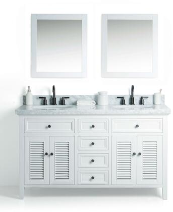 "Legion Furniture WS2160 60"" Solid Wood Sink Vanity With Mirror And Faucet"