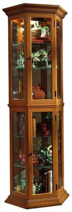 "Pulaski 25"" Curio Cabinet with 2 Glass Doors, 4 Adjustable Glass Shelves, Interior Lighting, Mirrored Back, Stationary Shelf and Metal Hardware in"