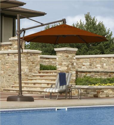 Bimini 11' Octagon Umbrella with No Valance, Standard View and Set Up poolside (Olefin)