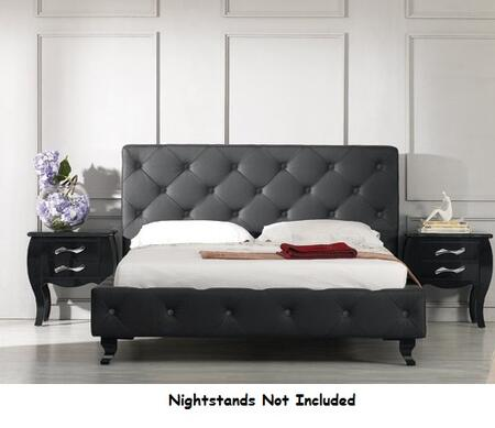 VIG Furniture VGJYMONTECARLO-BLK-B Modrest Monte Carlo - Black Leatherette Modern Bed with Buttons