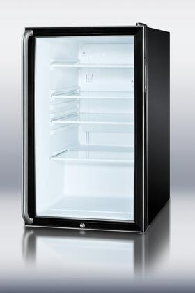 Summit SCR500BLSHADA  Freestanding Counter Depth Compact Refrigerator with 4.1 cu. ft. Capacity, 3 Glass ShelvesField Reversible Doors