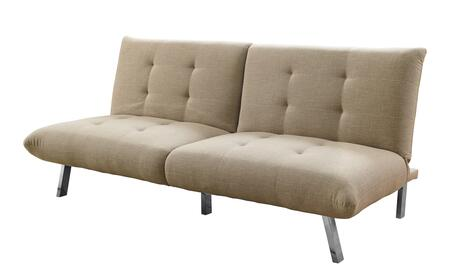 "Monarch I896XFT 70"" Click Clack Futon with Split Back, Angled Chrome Legs and Linen Fabric Upholstery in"