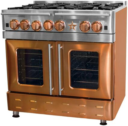 """BlueStar RNB364CBPMV 36"""" Precious Metals Series Gas Range with 4 Burners, 12"""" Charbroil Grill, Continuous Cast Iron Grates and Unique French Door Extra Large Convection Oven (Select Color Option)"""
